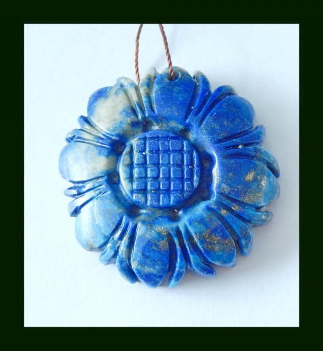 Lapis Lazuli Sunflower Carving Pendant Beads,89.5 Cts