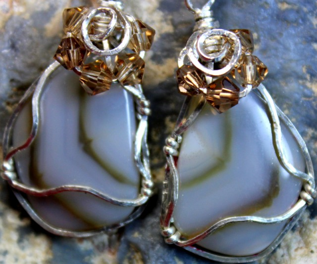 33.6 CTS   JASPER PAIR WIRE WRAPPED HAND MADE G5281