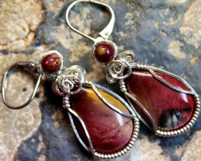 49 CTS   JASPER PAIR WIRE WRAPPED HAND MADE G5282