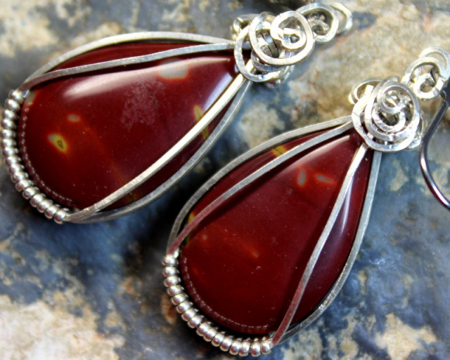 48.5CTS   JASPER PAIR WIRE WRAPPED HAND MADE G5283