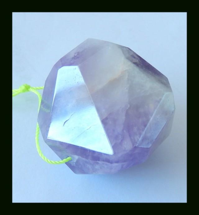 196.95 Cts Polygonal Amethyst Pendant Bead,Pendant Bead (N028)