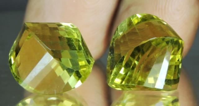 25.10 Cts Natural Lemon Yellow Quartz Brazil Set For Jewellry
