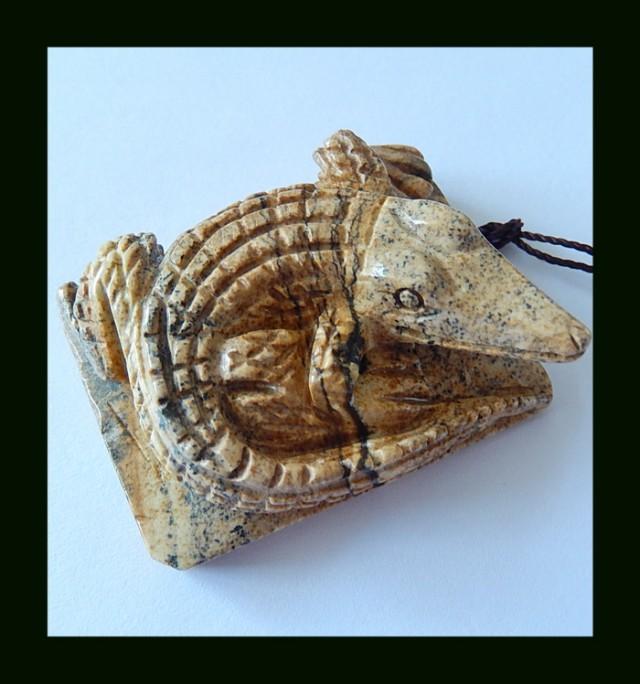 147.5 Cts Vintage Picture Jasper Crocodile Carved Pendant Bead