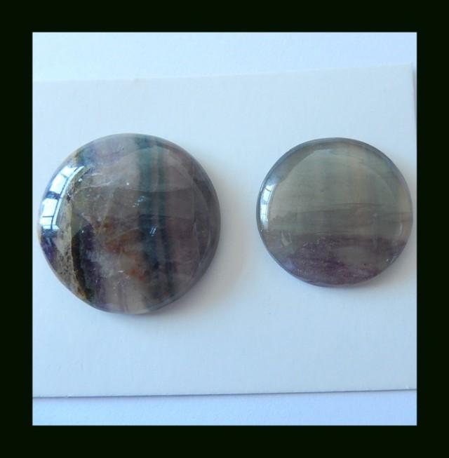 2 PCS Natural Rainbow Fluorite Round Cabochon,Two Size