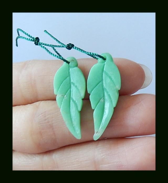 Handmade Leaves Carving Chrysoprase Earring Beads