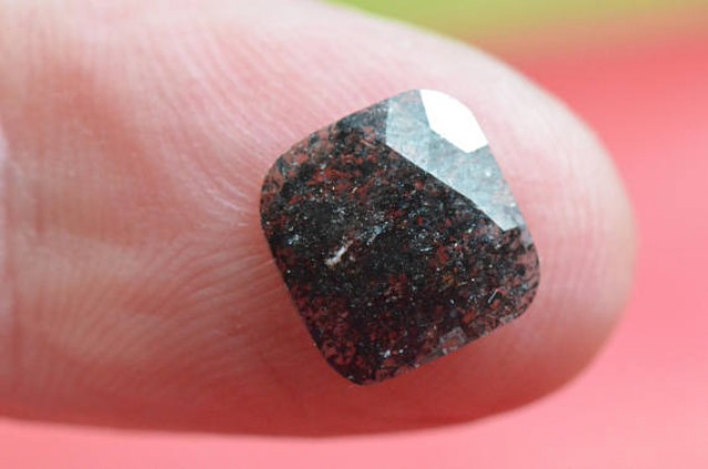 1.67ct salt and pepper cushion checker cut diamond conflict free untreated