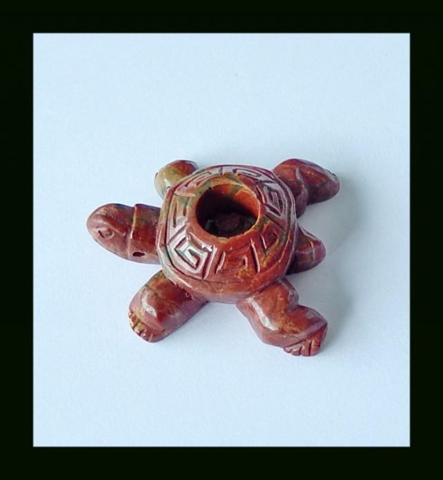 Turtle Carved Multi Color Picasso Jasper Pendant Bead