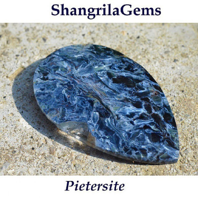 Pietersite blue cabochon drop pear heart AAA
