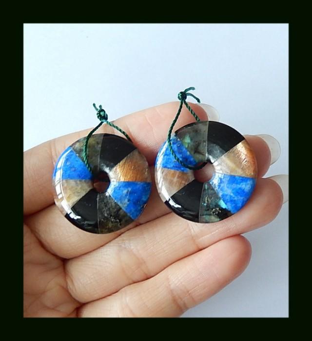 Obsidian,Lapis Lazuli,Labradorite Intarsia Earring Beads,56.5 Cts