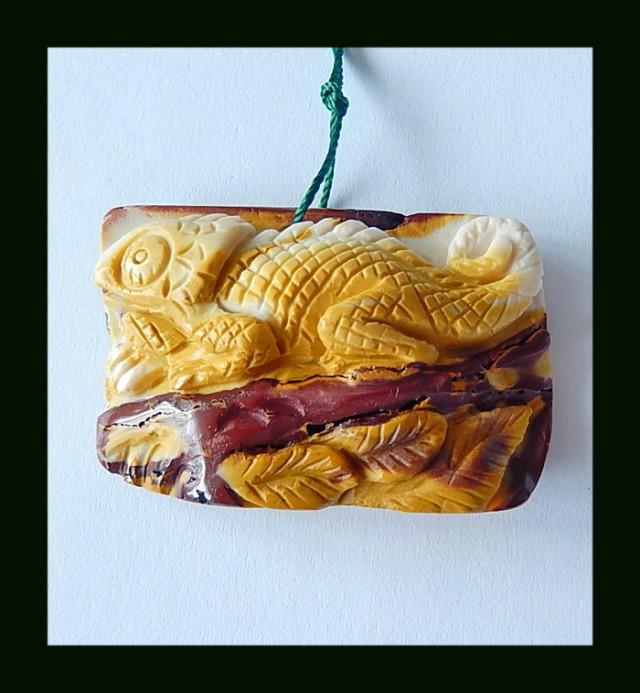 Lizard Carved Mookaite Jasper Pendant Bead,97.5 Cts(D0061)