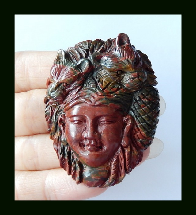 Beauty And Beast Carving Picasso Jasper Hand Carving,154 Cts (D0027)