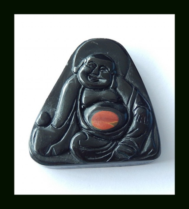 Hand Carved Buddhish Obsidian,Picasso Intarsia Kindness Buddha Pendant Bead
