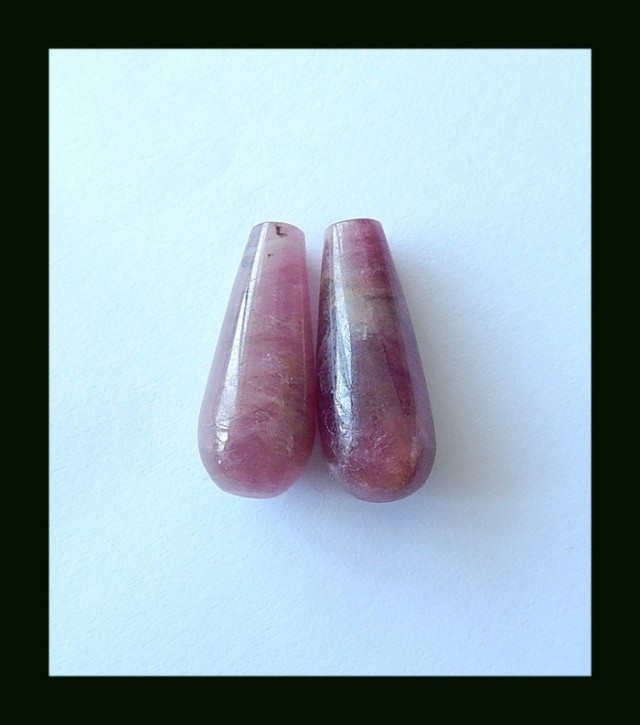 23.5 Cts Natural Tourmaline Tube Earring Beads