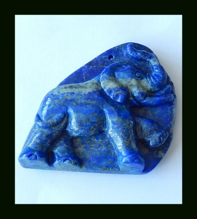 Elephant Carving Lapis Lazuli Pendant Bead,284 CTS(D0072)