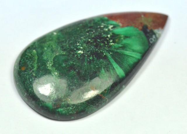 35mm Green Malachite Chrysocolla drop pear heart cabochon 29ct