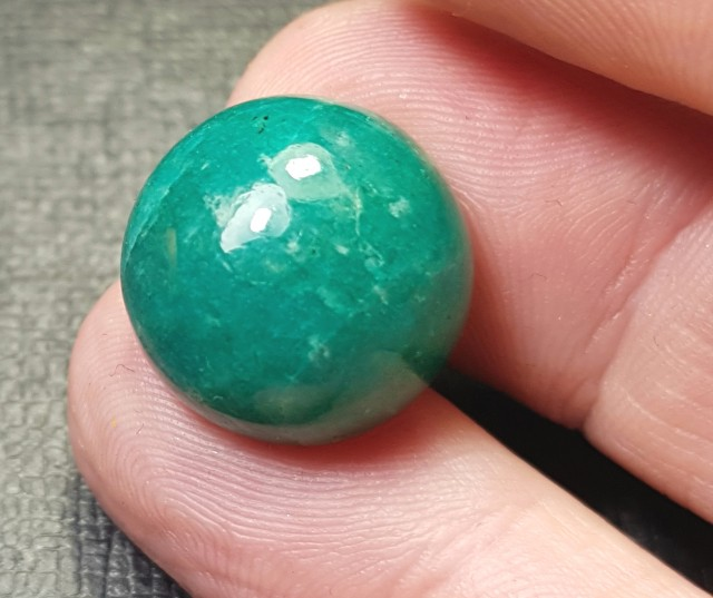 15.5mm Amazonite cabochon 15.5 by 9.5mm 18ct