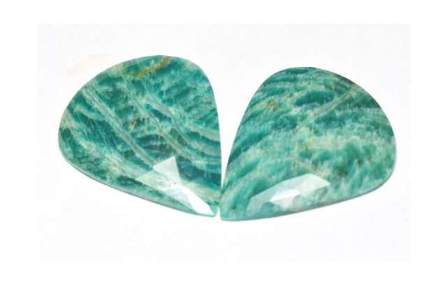 Amazonite cabochon blue turquoise pair