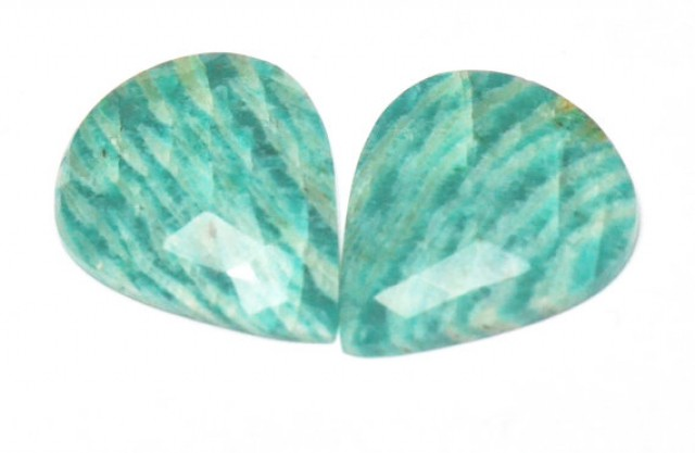 Amazonite cabochon blue turquoise pair heart shape