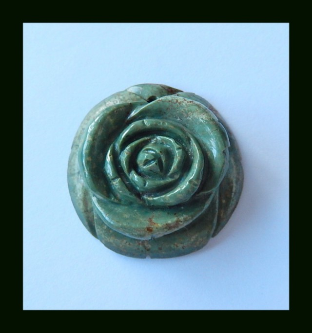 Turquoise Pendant Bead With Flower Carving,46.3 Cts