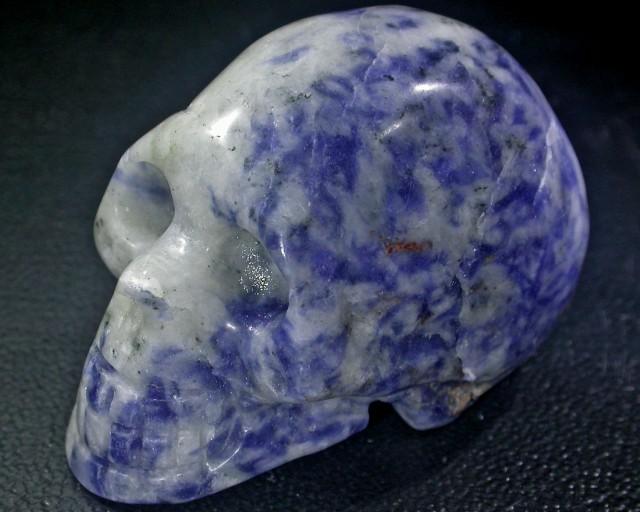 JASPER BLUE AND WHITE CONBINATION  GEMSTONE SKULL BU263