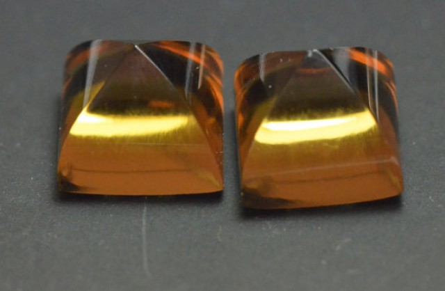 Pair of Square sugar loaf Beer Citrine gemstone