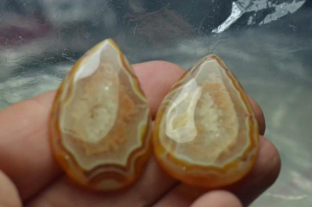 Botswana Agate drop shape pair cabochon orange
