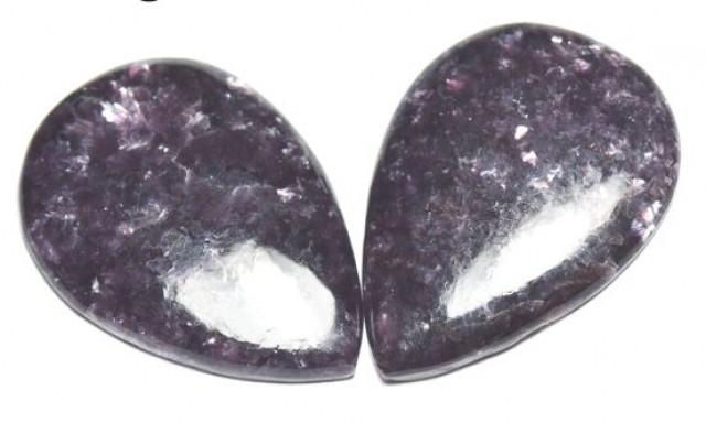 Pair deep purple Lepidolite cabochon