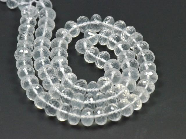 8mm 7 inch line Diamond Quartz beads faceted roundelles