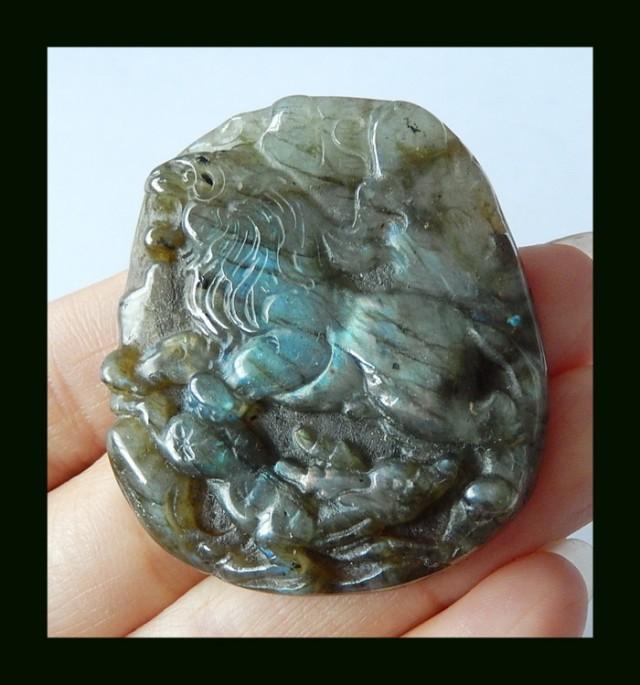 Lion Carving Labradorite Semiprecious Stone Carving,118.5 Cts (D0026)