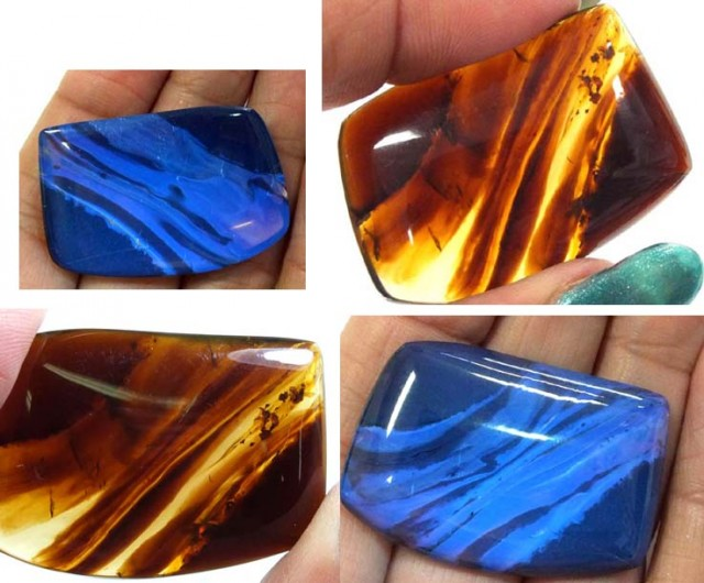AMBER  INDONESIA  HONEY GOLD TO BLUE 25.80   CTS  TBG-2136