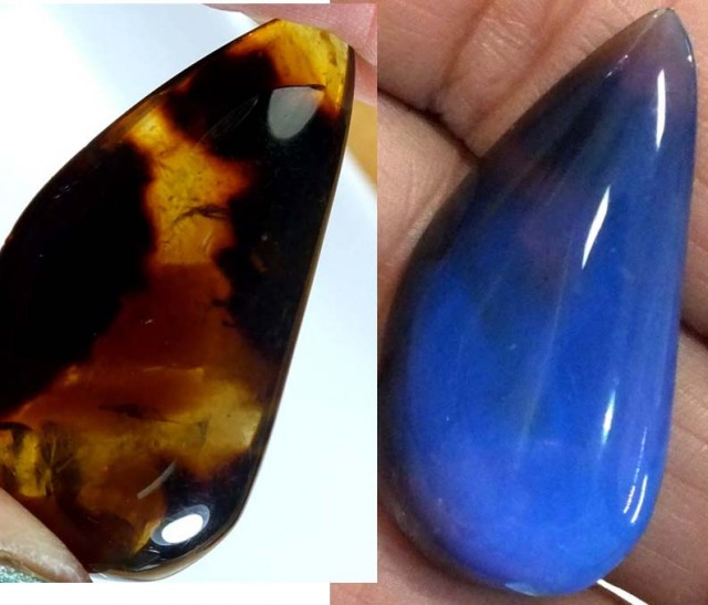 AMBER  INDONESIA  HONEY GOLD TO BLUE 12.25   CTS  TBG-2158
