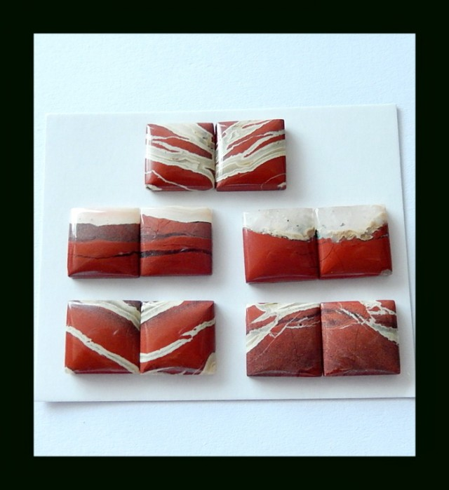 P0475 - 75.5cts 5 Pairs Natural Red River Jasper Square Cabochons Pair