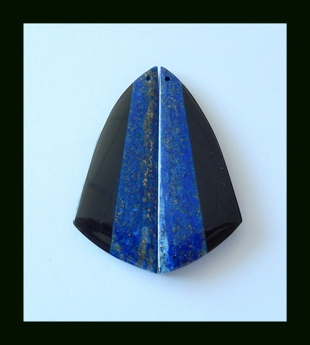 52 cts Lapis Lazuli ,Obsidian Intarsia Gemstone Earring Beads
