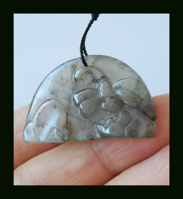 38.5 cts Carved  Labradorite Gemstone Pendant Bead