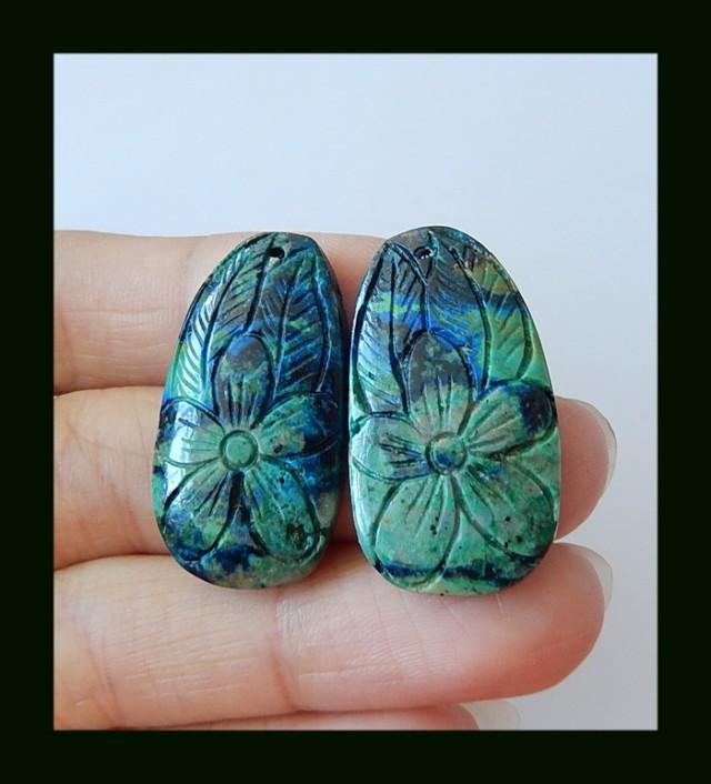 38 ct New Design Chrysocolla Craved Flower Earring Pari