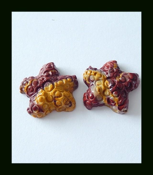 28.5 Cts Mookaite Jasper Fishstar Carving Cabochons Pair