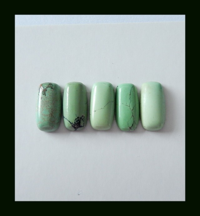 5 PCS Turquoise Gemstone Cabochons Parcel