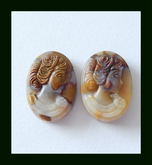 21ct Beauty Carving Wyoming Agate Gemstone Cabochon Pair