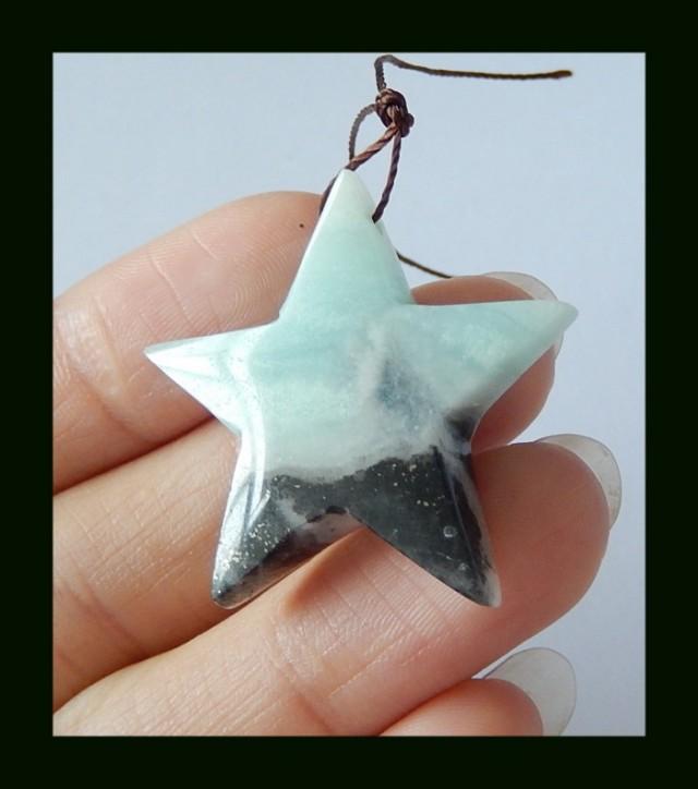34 ct Amazonite Gemstone Star Pendant Bead