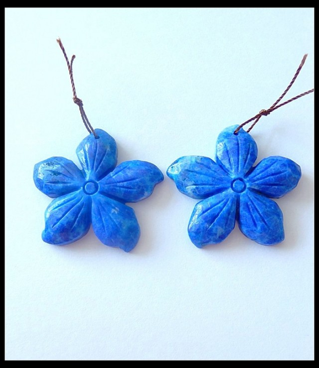 108 ct  Lapislazuli Gemstone Flower Earring Beads