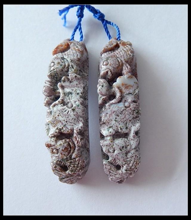 62.5 Ct Natural Ocean Jasper Earring Beads