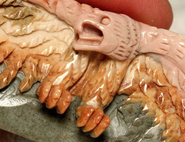 98 Ct Hand Carved Succor Creek Jasper Luck Charm Pendant