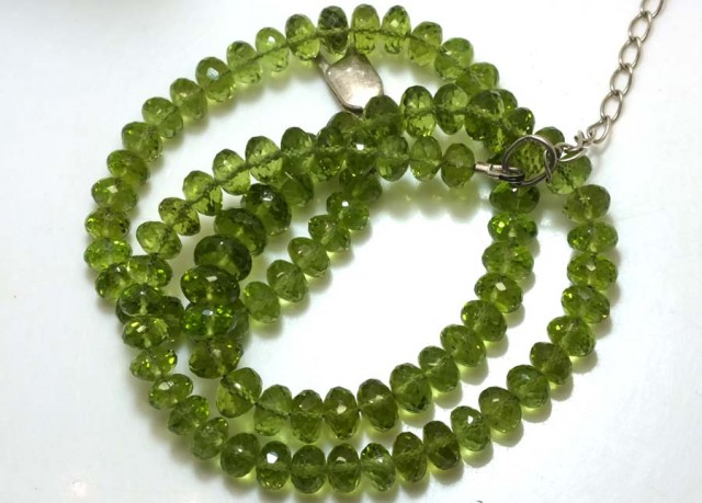 136.50 CTS PERIDOT FACETED BEAD NECKLACE ANGC-137