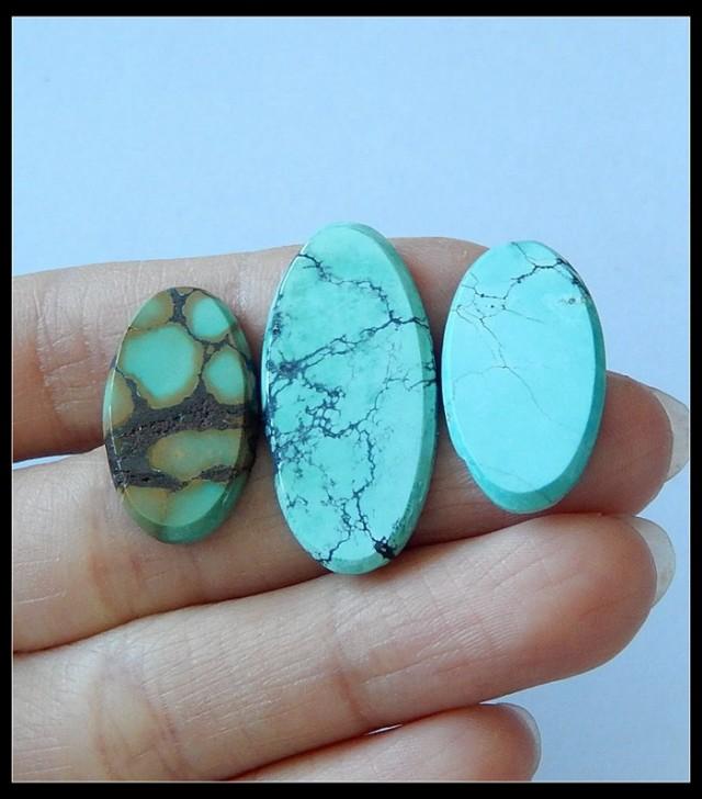 3 PCS Turquoise Gemstone Cabochons,Wealthy Gemstone