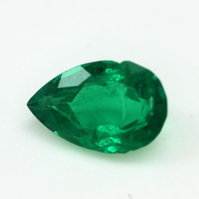 0.79cts Natural Emerald  Pear Mixed Step Cut