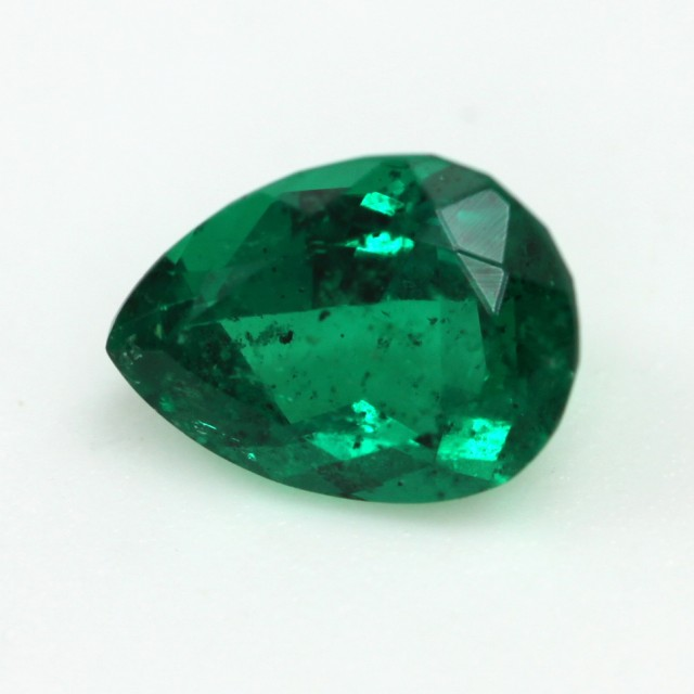 0.56cts Natural Emerald  Pear Shape Mixed Step Cut