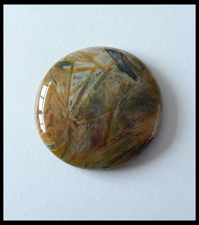 56 ct Round Bamboo Agate Gemstone cabochon