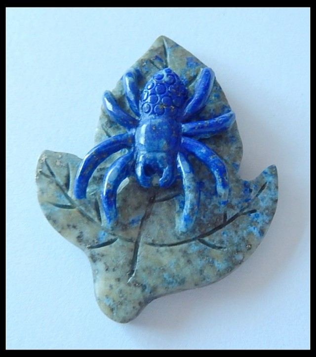 Spider & Leaf Hand Made Lapis Lazuli Carving Gemstone,88.5cts,Unique Ha