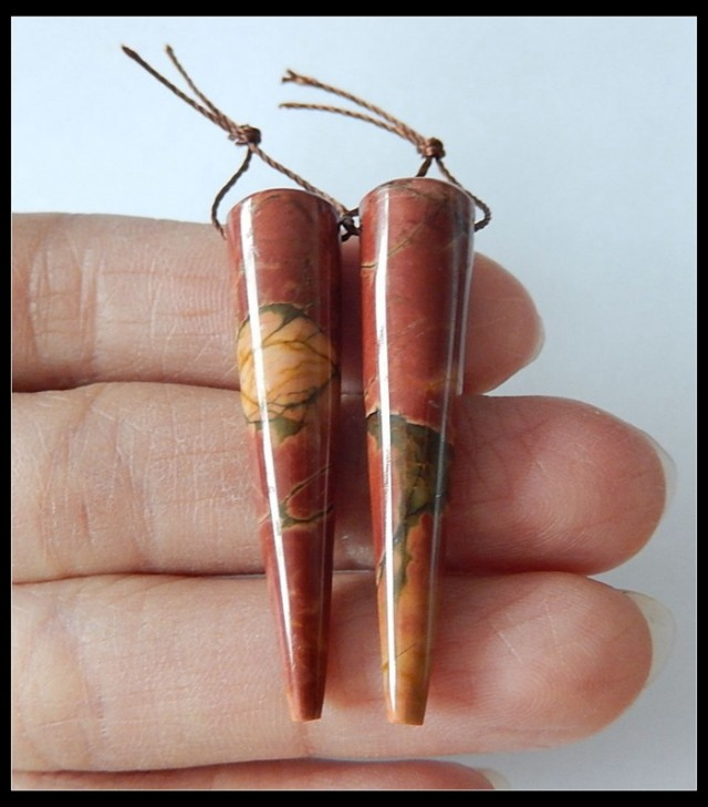 37 ct Pointed Picasso Jasper Beads Pair
