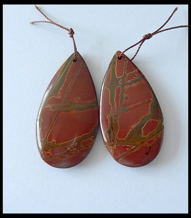 64.95 ct Natural Multi Color Picasso Jasper Earring Beads